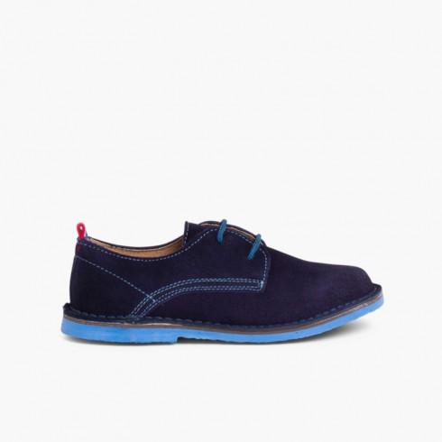 Zapatos Blucher Serraje Suela y Cordones Colores Azul Marino