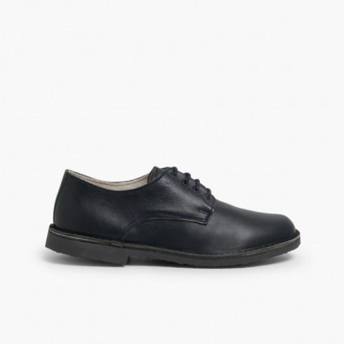newest ba253 e4119 Niño Marino Piel Azul Zapatos Oxford UxzwBB