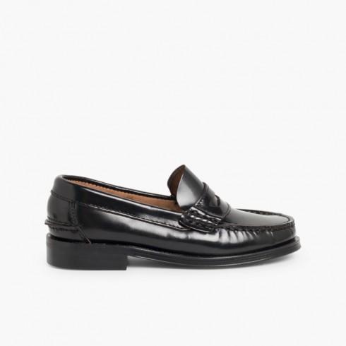 Zapatos castellanos Mocasines de piel para Niño Negro