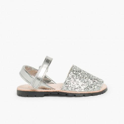 Menorquina Glitter con Velcro Plata