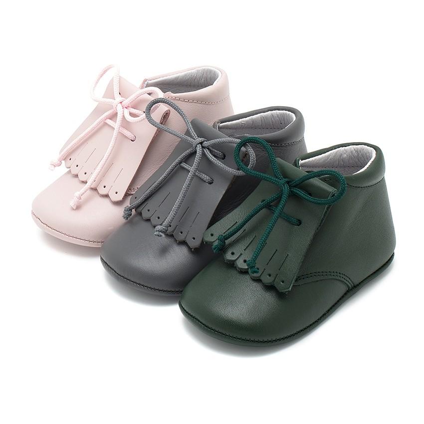 Zapatos Bebé Piel Tipo Botita con Flecos