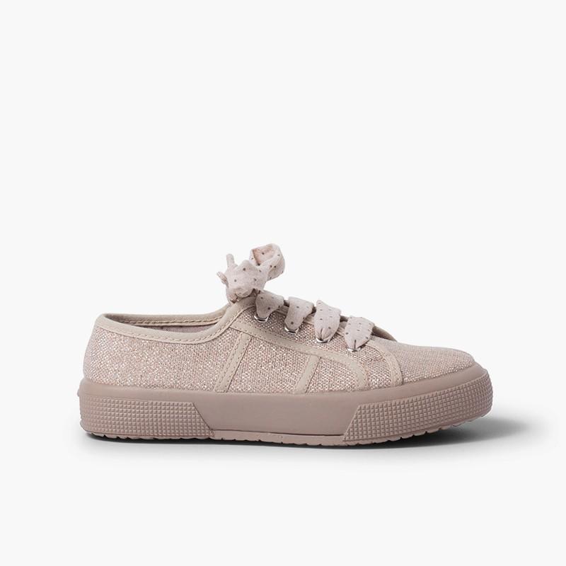 Zapatillas lino brillo mujer y niña