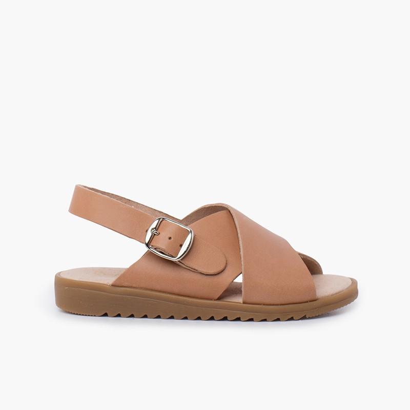 Sandalia piel cruzada tiras anchas