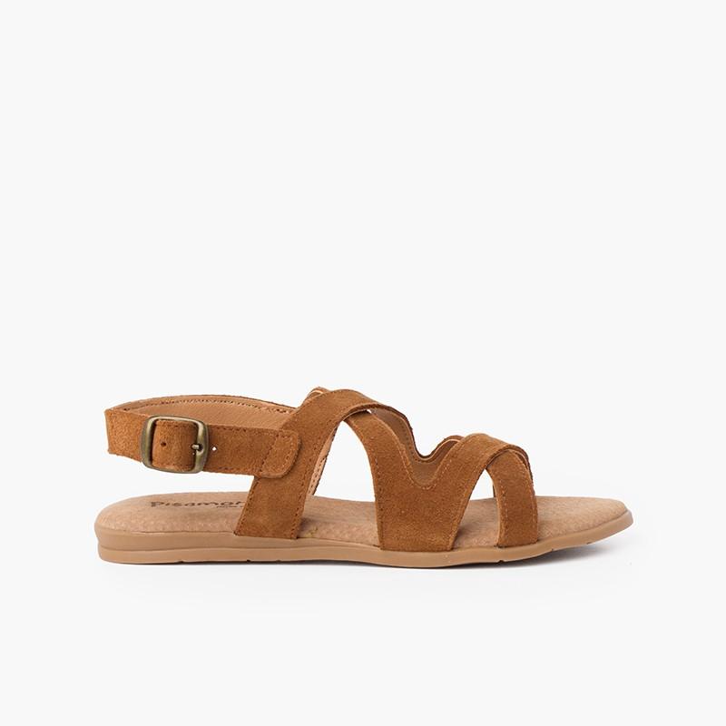 Sandalias de Serraje con Tiras Cruzadas