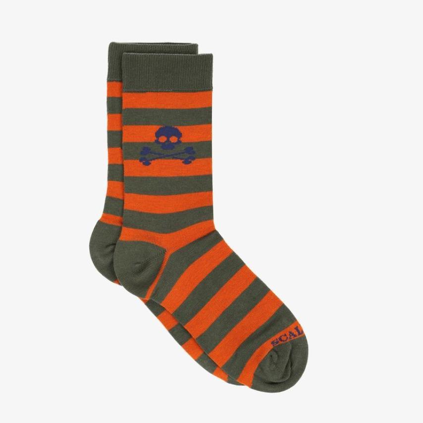 Calcetines Scalpers niños cortos rayas kaki