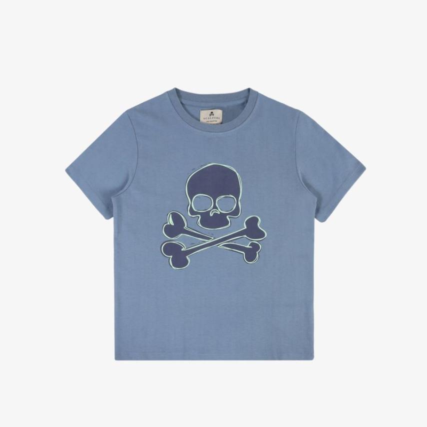 Camiseta niños calavera frontal azul Scalpers