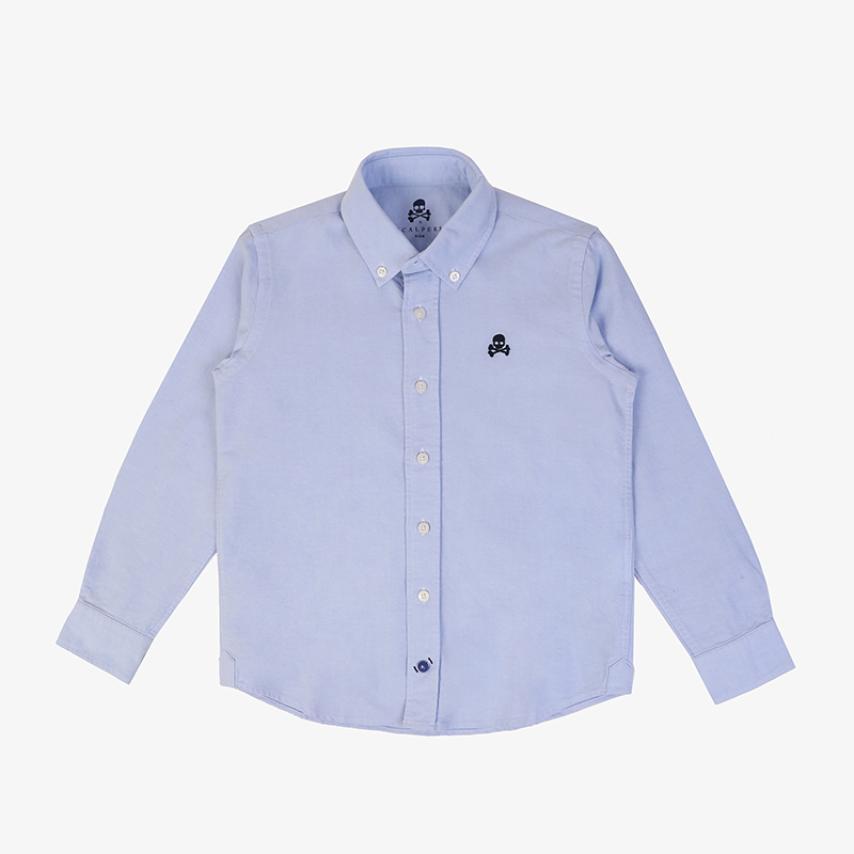 Camisa oxford niños cuello botones azul Scalpers