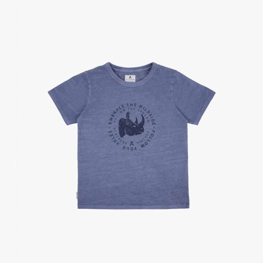 Camiseta lavada niños print redondo azul Scalpers