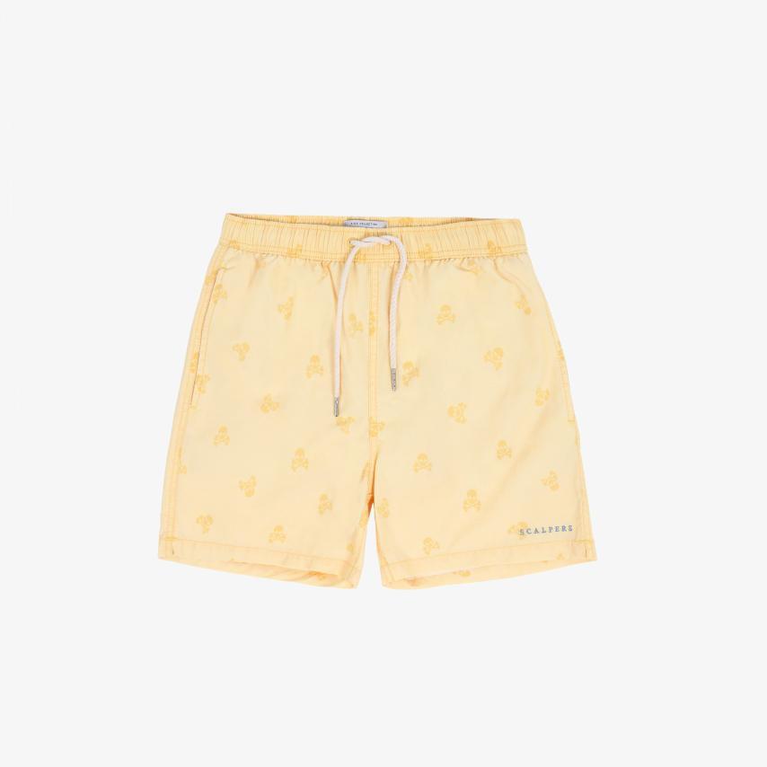 Bañador niño lavado calaveras amarillo Scalpers