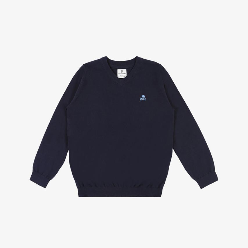 Jersey cuello pico calavera azul Scalpers