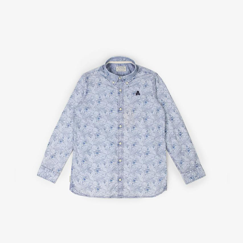 Camisa estampado hojas azul Scalpers
