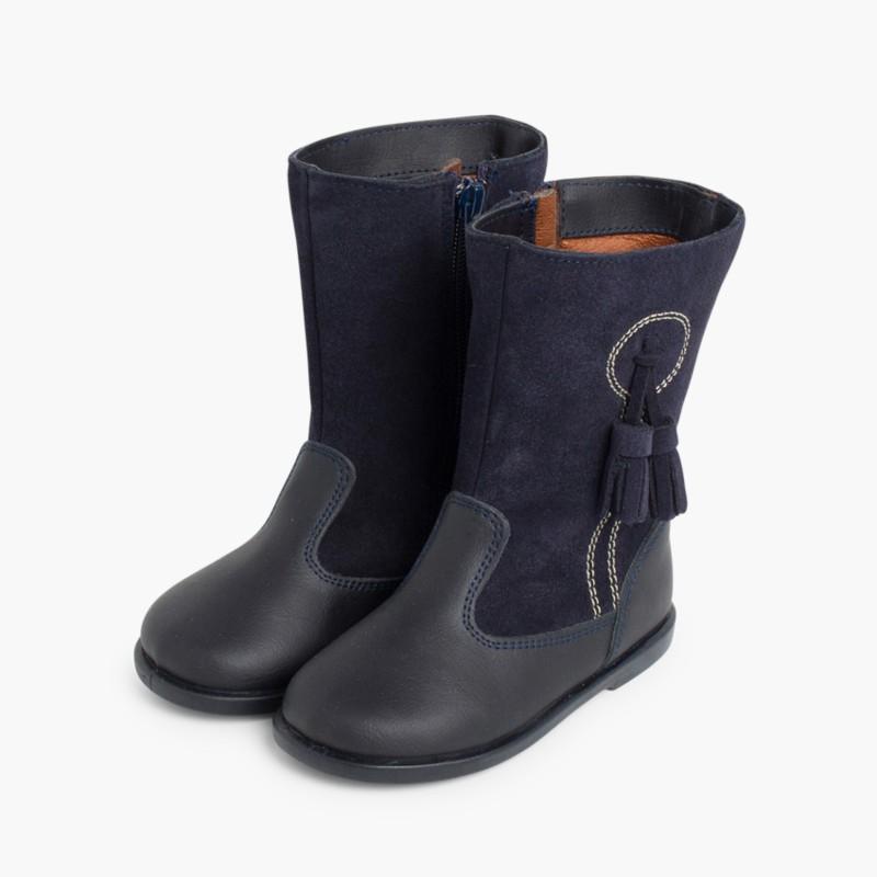 654d8c7d085 Botas Niña Piel y Serraje Borlas. Zapatos y Botas online