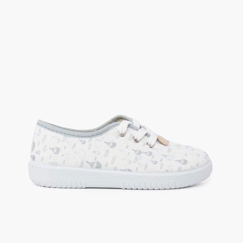 Zapatillas cordones niños lona globitos