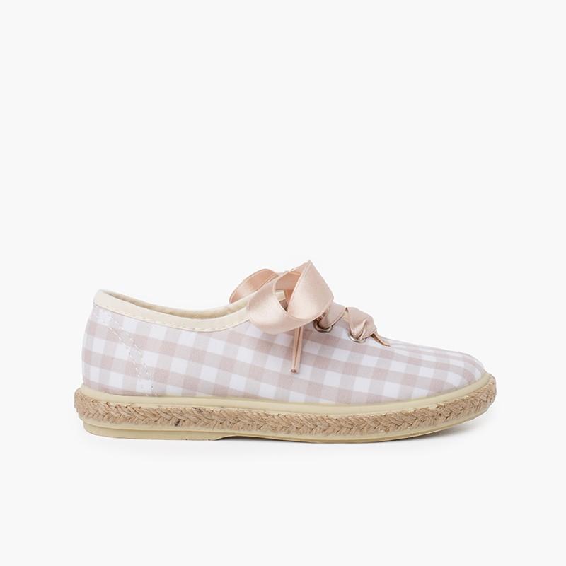 Zapatillas cuadros vichy y yute cordones raso