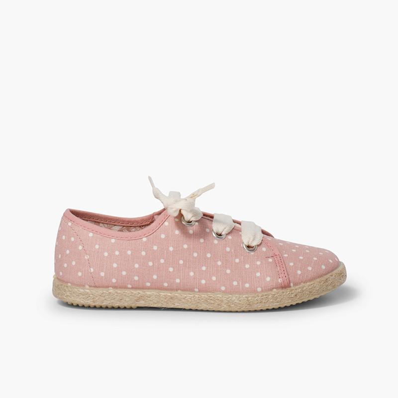 Zapatillas tela puntitos niña