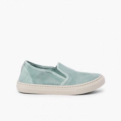 Zapatillas lona lavada elástico lateral Topo
