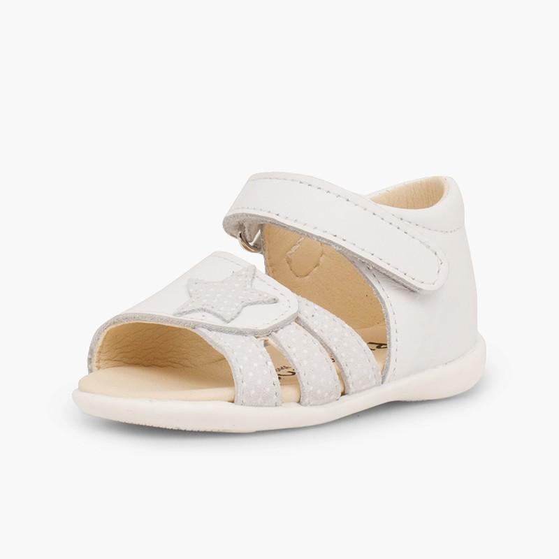 Sandalias Piel Primeros Pasos Niña Velcro y Estrella