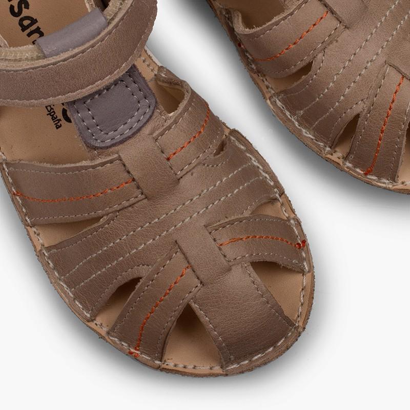 Sandalias Piel Niño con Velcro Cangrejera