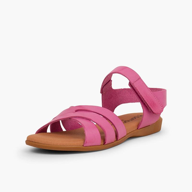 Sandalia Niña Piel Tiras Cruzadas Cierre Velcro