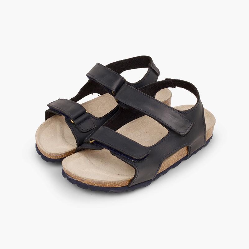 Sandalias Piel Bio Niño Doble Velcro