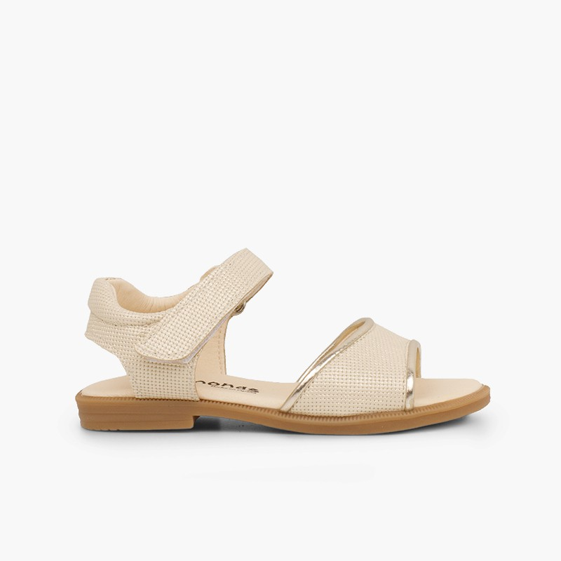 Niña Piel Grabada Brillante Sandalia Velcro P0w8knOX