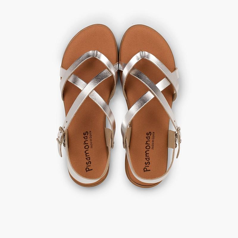 Sandalias Romanas Niña y Mujer Tiras Metalizadas