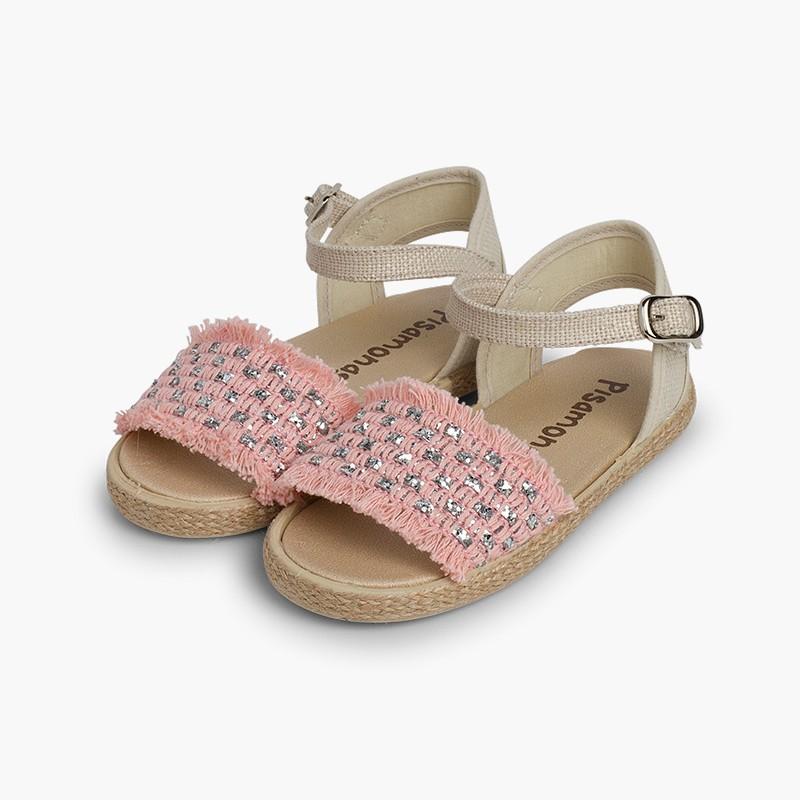 Sandalias Brillantes Niña con Flecos