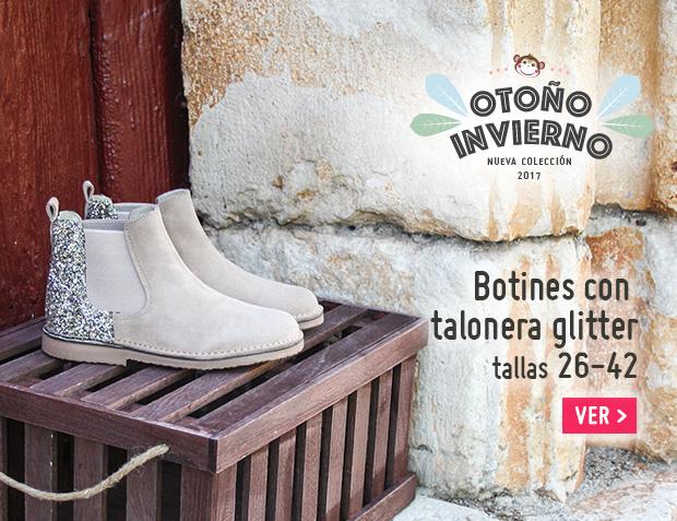 Botines Niña Serraje con talonera glitter 2017