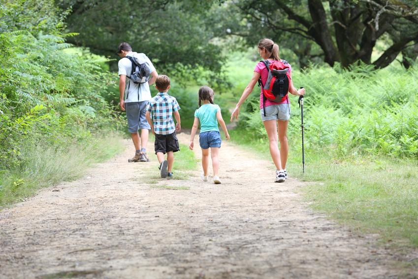 Familia andando por el campo